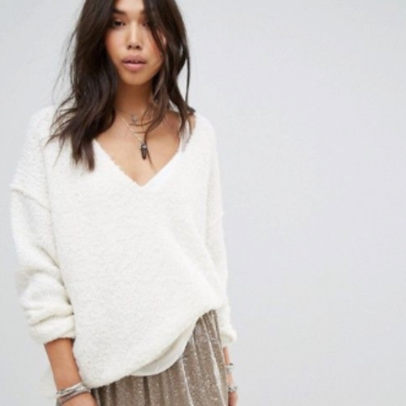 Free People Lofty V-Neck Sweater in Ivory 18e359b52